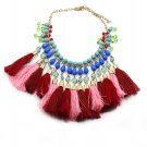 Ethnic style colorful tassel necklace