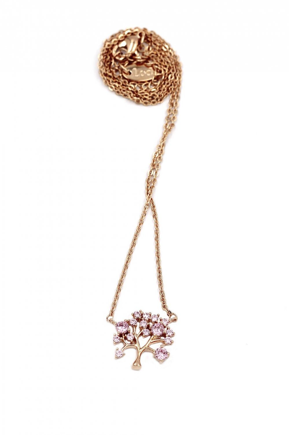 925 rose gold pink crystal tree pendant necklace