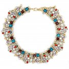 Fashion beautiful red blue crystal necklace