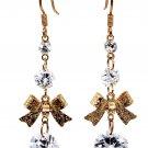Fashion gold pendant bow crystal earrings
