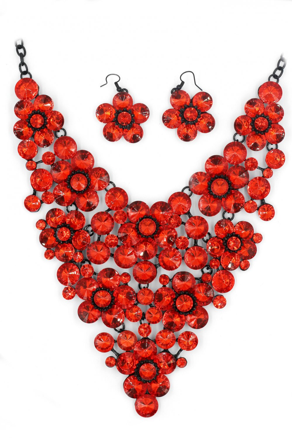 Red crystal flowers necklace earring set