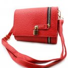 Red pebble leather small lock purse