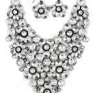 Transparent crystal flowers necklace earring set