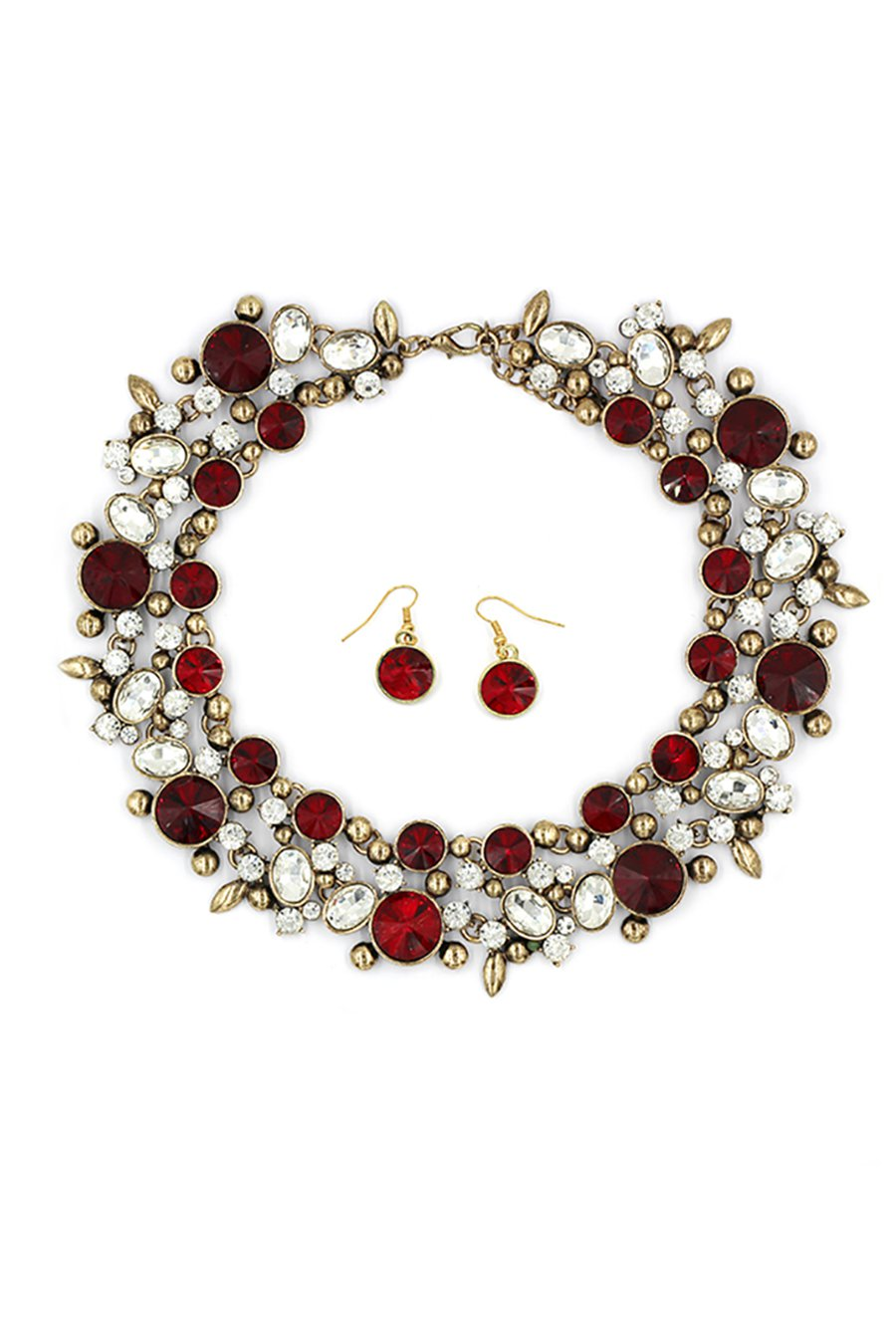 Elegant full red crystal necklace earring set