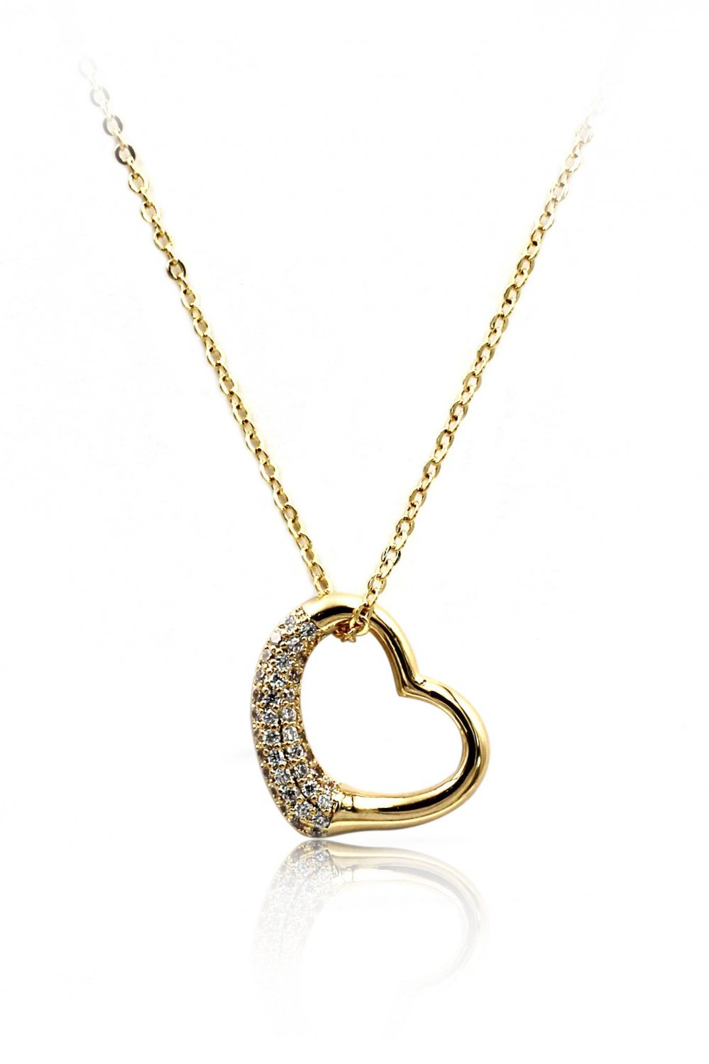 Gold cabinet micro crystal heart necklace