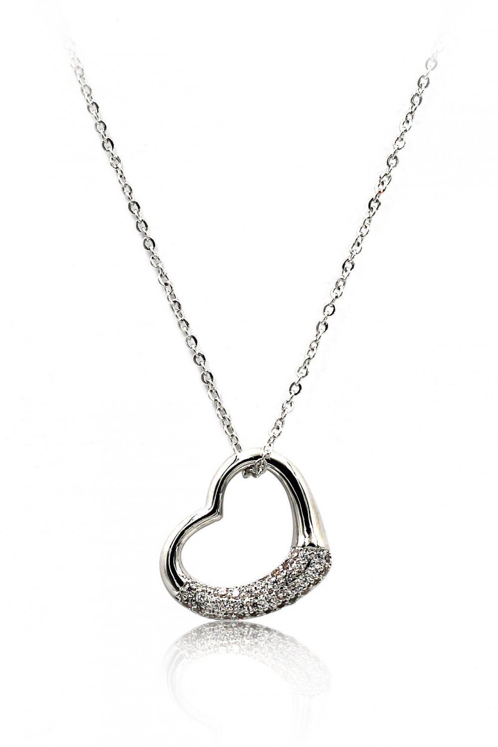 Sterling silver cabinet micro crystal heart necklace