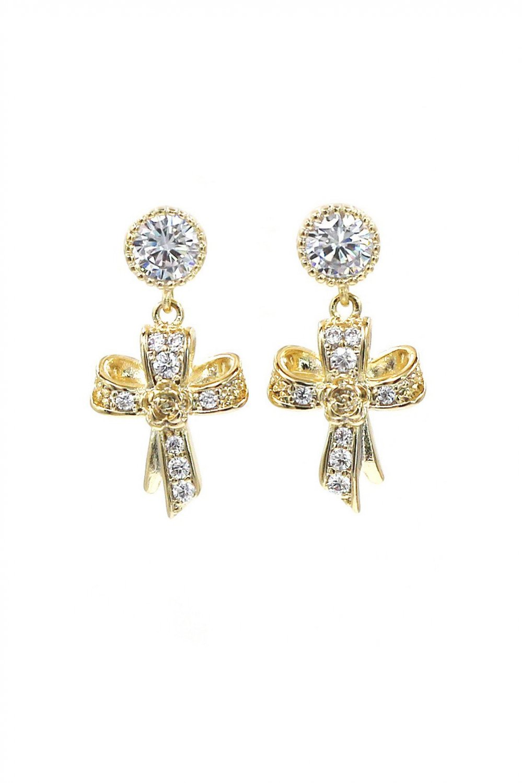 Fashion gold ribbon cross crystal pendant earrings