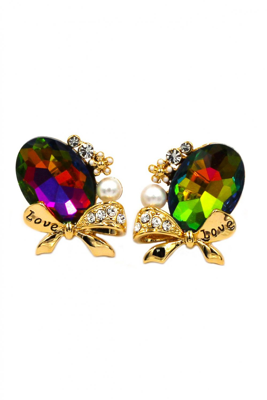 Elegant oval diamond bowknot gold earrings