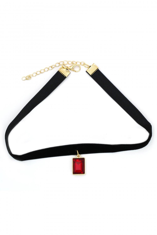 Ladies plush belt pendant square crystal choker