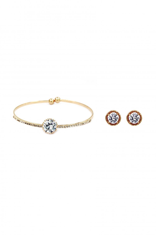 Shiny crystal bracelet golden earring set