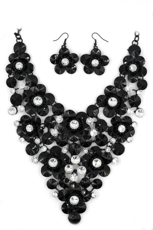Black white crystal flowers necklace set