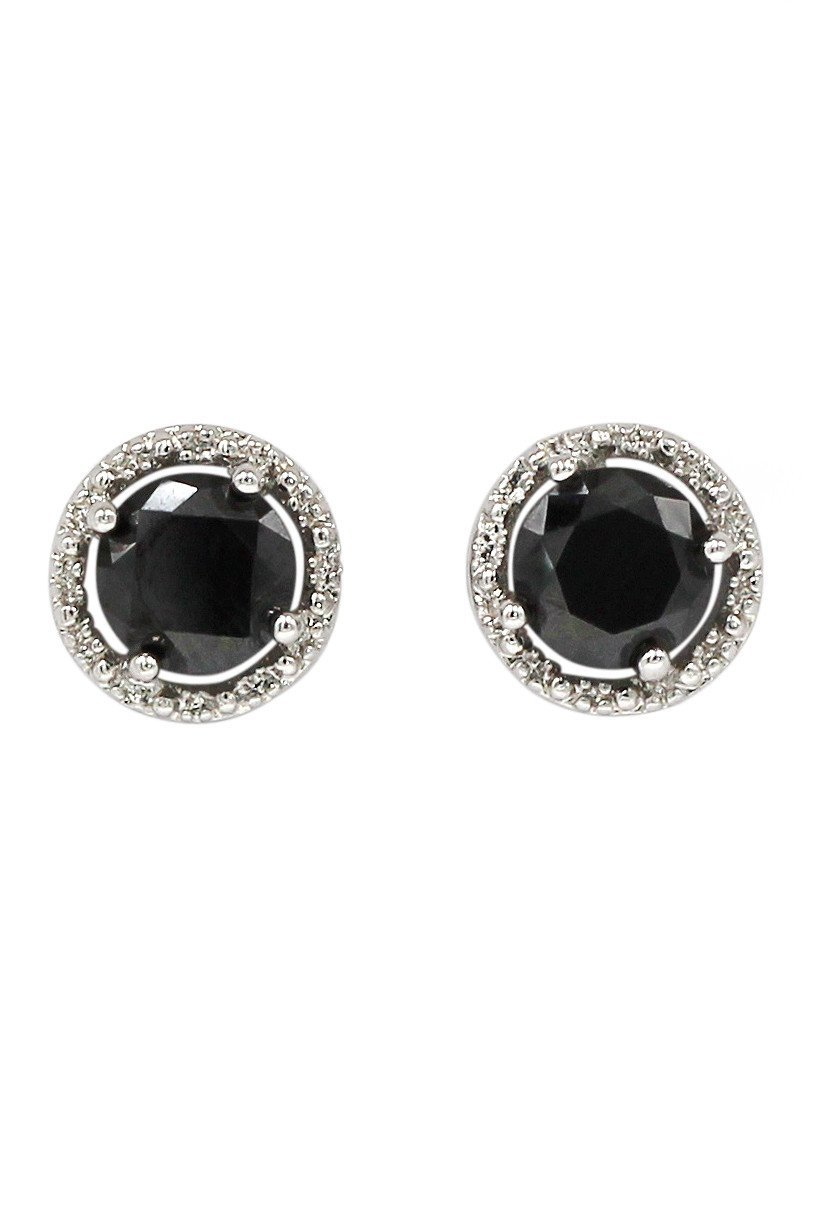 Simple silver black crystal earrings