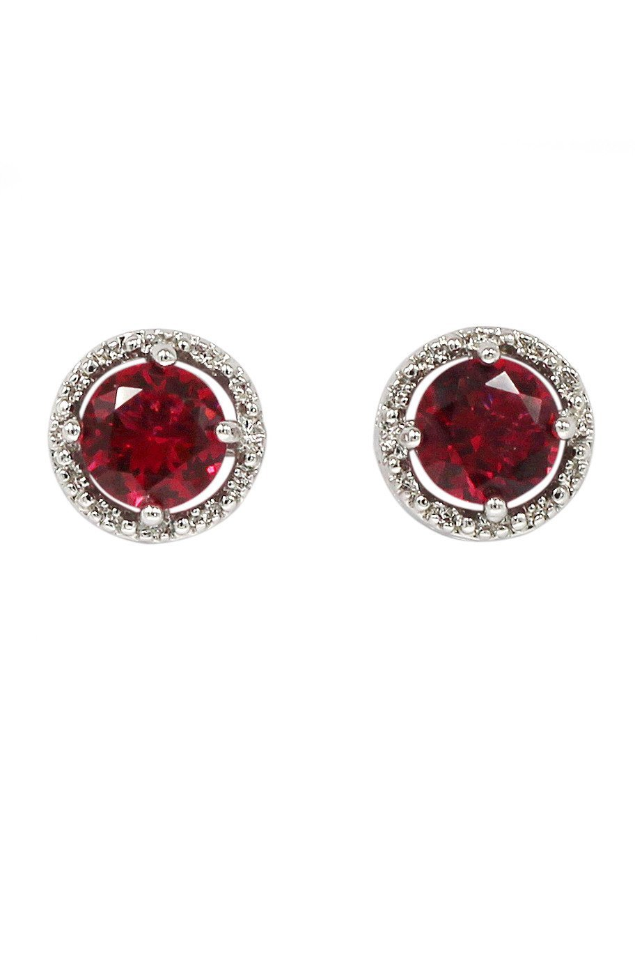 Simple silver red crystal earrings