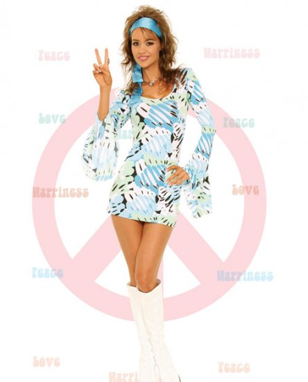 60's Hippy twiggy girl retro sexy abult halloween costume