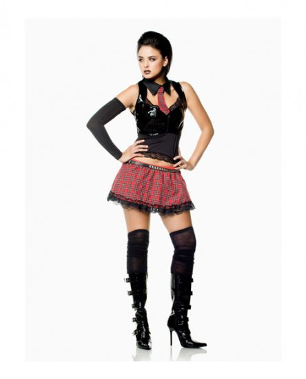 gothic scool girl 7 piece complete halloween costume womens outfit