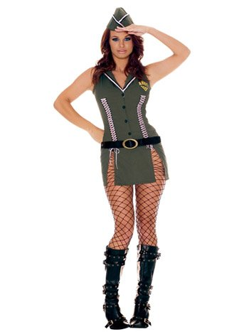 Army Brat Sexy Corset Style Dress Vintage Hot Army Girl Rock a Billy