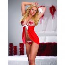 Hearts crotchless thong and feather tickler with open cup babydoll!