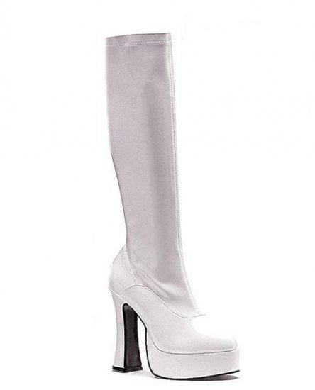 Ellie shoes cha cha knee high boot 1.5 inch platform white