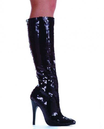"Sequined Zippered Knee-High Boots 5"" Heels Size 10"