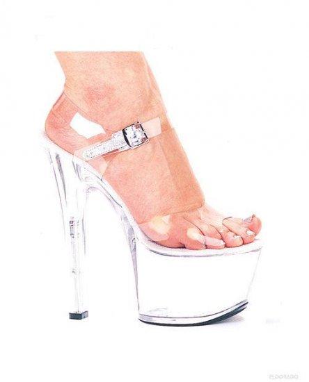 "Flirt By Ellie Stripper Shoes 7"" Pump 3"" Platform Clear Size 6"