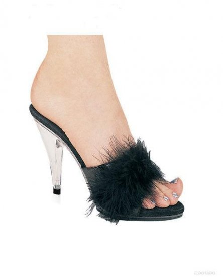 Sasha By Ellie 4 inch Marabou Pump Black Size 8