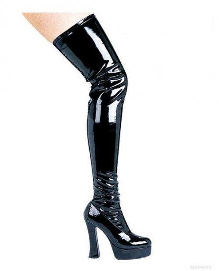 "Thrill Thigh High Boots By Ellie 5"" Boot 1.5"" Platform Black Size 8"