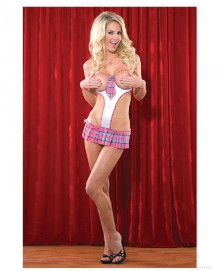 School Girl Teddy W/Open Cups, Tie & Skirt Detail W/Crotchless G-String Lingerie / Costume