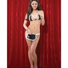 Maid Peek A Boo Bra & Crotchless Panty w/Front Apron Pocket Lingerie / Costume