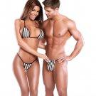 Exposed Couples Double Dribbleset Women's Striped Bra Set & Men's Pouch G-String Black/White o/s