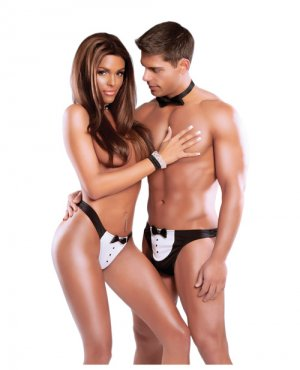 Exposed For Couples Black Tie Optional Women's Tux Thong & Men's Tux Thong Black/White o/s