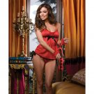 4 pc love's embrace short babydoll, tie thong, wrist cuffs, & eye mask red o/s