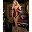 Velvet roses open front babydoll w/open crotch thong black o/s