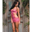 For your pleasure lace apron babydoll w/thong hot pink o/s