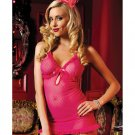 Dotten mesh chemise w/keyhole front, ruffle trim adjustable straps & thong pink o/s