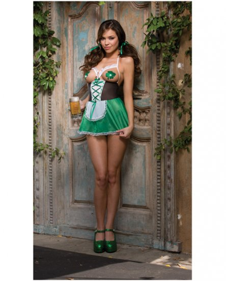 4 pc gettin lucky open cup babydoll, thong, clover shaped pasties, & hair ribbons green o/s