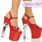Highest Heel Red 7½ inch Chrome Sex Pistol 9mm Gun Heel 3 1/2 inch Platform Size 9
