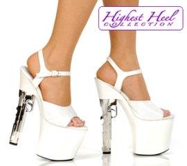 White 7½ inch chrome Sex Pistol 9mm Gun heel 3 1/2 inch platform size 5