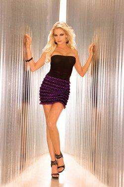vintage pin up girl strapless black purple mini club wear  tube dress ruffle trimmed skirt