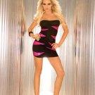 strapless mini black hot pink tube peek a boo dress short skirt small extra large