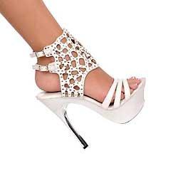 White Austrian Crystal ankle bracelet silver metal heel platform shoes size 6