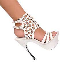 White Austrian Crystal ankle bracelet silver metal heel platform shoe size 7