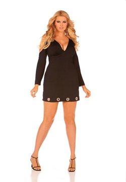 queen sizes 1x 2x 3x  Black biker hard rock star open shoulder long sleeve v neck mini skirt dress