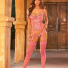 size small medium large hot pink leopard bustier thigh highs garters gstring