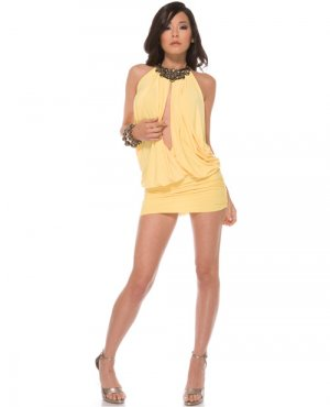 forplay extra small small parachute bodice mini dress butter yellow jeweled halter neck line