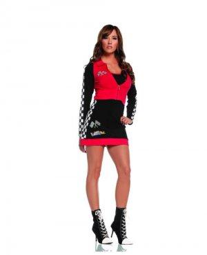 nascar small zip up long sleeve jacket dress black red checkered flag print