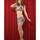 coquette nascar checkered flag lingerie costume one size fits most peek a boo bra skirt