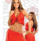 bang small medium red two piece skirt se lycra exotic dance costume swim wear beach cover up