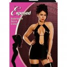 exposed brand medium large liquid blacl widow corset vintage pleather  mini stripper dress