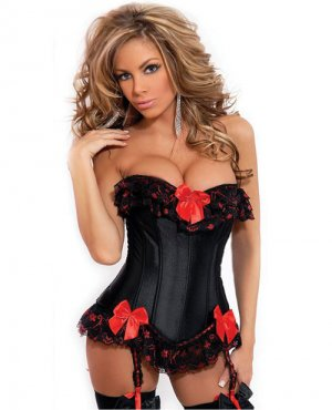 Strapless burlesque corset w/ruffle & bow accents, removable garters & g-sting black red small