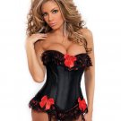 Strapless burlesque corset w/ruffle & bow accents, removable garters & g-sting black x large